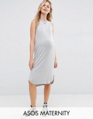 ASOS Maternity Платье-футболка без рукавов для беременных с закругленным низом M. Цвет: серый