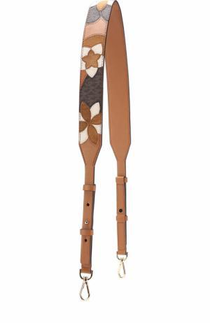 Кожаный ремень для сумки с цветочной вышивкой MICHAEL Kors. Цвет: коричневый