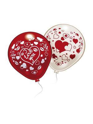 10 шариков с рисунком Любовь Everts. Цвет: красный