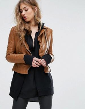 Muubaa Байкерская куртка с контрастными молниями. Цвет: коричневый