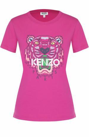 Хлопковая футболка с контрастным принтом Kenzo. Цвет: фуксия