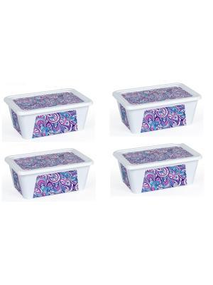 Комплект контейнеров из 4х шт. ПЕЙСЛИ прямоугольный с декором, 1,65 л. Полимербыт. Цвет: сиреневый