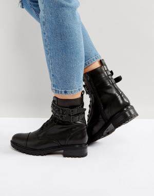 Miss KG Ботинки в стиле милитари с камнями Sax. Цвет: черный