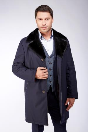 Темно-синяя длинная куртка из шерсти с мембраной Bos Bison. Цвет: темно-синий