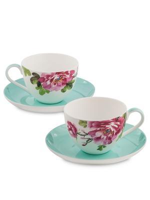Чайный набор на 2 перс. Тоскана (Toscana Pavone) Pavone. Цвет: бирюзовый, бордовый