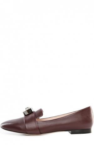 Кожаные лоферы с фурнитурой Christopher Kane. Цвет: бордовый