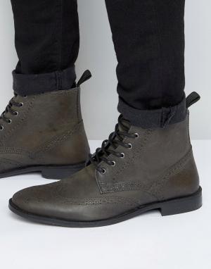 ASOS Серые кожаные броги. Цвет: серый