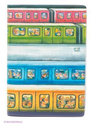 Обложка для автодокументов Электрички Mitya Veselkov. Цвет: зеленый, голубой, розовый, желтый