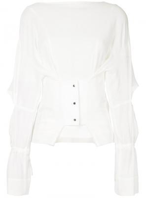 Полупрозрачная блузка с корсетом Taro Horiuchi. Цвет: белый