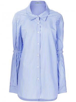 Рубашка мешковатого кроя в полоску Prada. Цвет: синий
