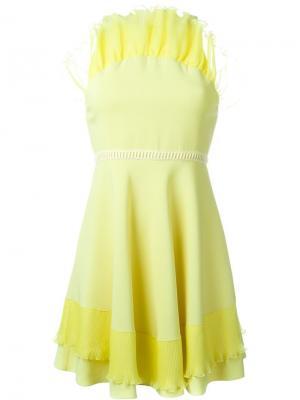 Мини-платье с рюшами Giamba. Цвет: жёлтый и оранжевый