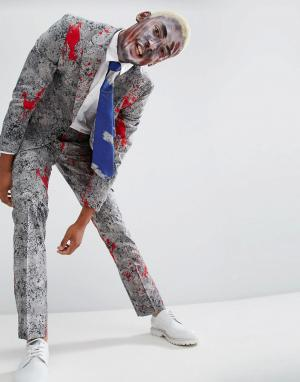 Oppo Suits Облегающий костюм и галстук с принтом пятен крови OppoSuits Halloween. Цвет: серый
