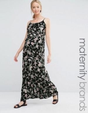 New Look Maternity Платье макси для беременных с цветочным принтом. Цвет: синий