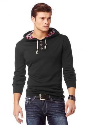 Пуловер с капюшоном Bruno Banani. Цвет: черный