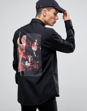 Systvm Рубашка с принтом ангел на спине. Цвет: черный
