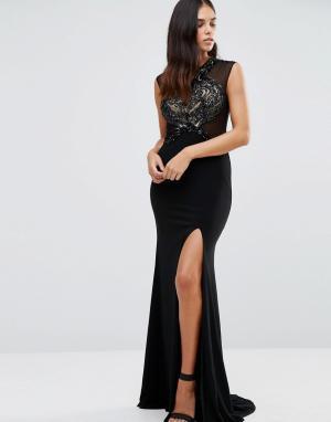 Forever Unique Платье макси с декорированным кружевом Sheba. Цвет: черный