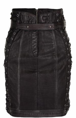 Кожаная мини-юбка со шнуровкой и поясом Balmain. Цвет: черный