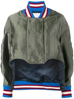 Асимметричная куртка-бомбер Esteban Cortazar. Цвет: зелёный