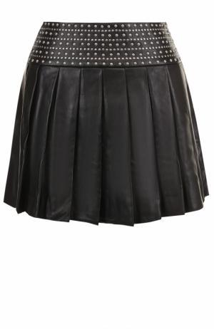 Кожаная мини-юбка с заклепками Alice + Olivia. Цвет: черный