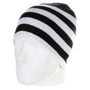 Шапка  2 Stripe Beanie Black/White Urban Classics. Цвет: черный,белый