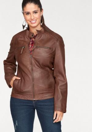 Кожаная куртка Otto. Цвет: коричневый