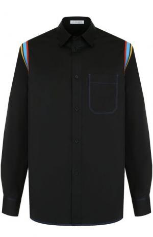 Хлопковая рубашка с контрастной отделкой J.W. Anderson. Цвет: черный