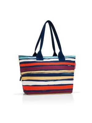 Сумка Shopper E1 artist stripes Reisenthel. Цвет: синий, оранжевый, сливовый
