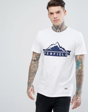 Penfield Белая футболка классического кроя с логотипом Mountain. Цвет: белый