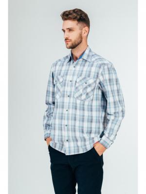 Рубашка Westrenger. Цвет: голубой, серый