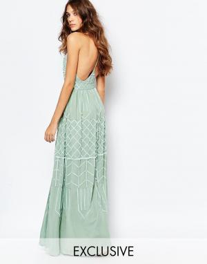 Frock and Frill Декорированное платье макси с глубоким вырезом и открытой спиной. Цвет: зеленый