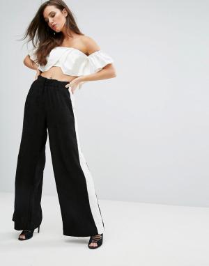 Kendall + Kylie Контрастные брюки с широкими штанинами. Цвет: черный