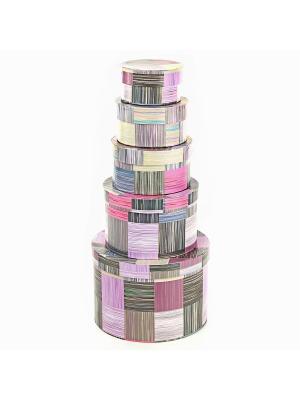 Коробка картонная, набор из 5шт. 9*9*5-19*19*13 см. Сиреневое сияние VELD-CO. Цвет: темно-фиолетовый, бордовый, фиолетовый