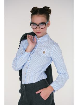 Блузка Julvern. Цвет: голубой, белый