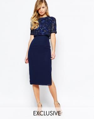 Frock and Frill Платье-футляр с открытой спиной и разрезом. Цвет: темно-синий