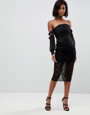 Lioness Кружевное платье миди с открытыми плечами и длинными рукавами. Цвет: черный