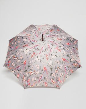 Cath Kidston Серый зонт с птицами. Цвет: мульти