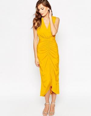 VLabel London Платье макси Morden. Цвет: желтый