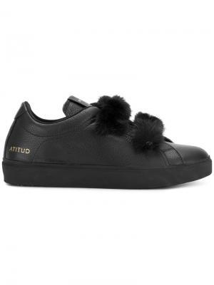 Кроссовки с норковой отделкой Leather Crown. Цвет: чёрный
