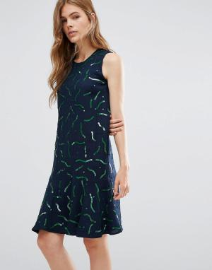 YMC Шерстяное платье с принтом Gummy. Цвет: темно-синий