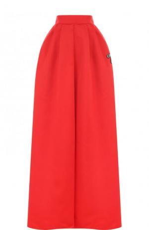 Однотонная юбка-макси с контрастной отделкой Rochas. Цвет: красный