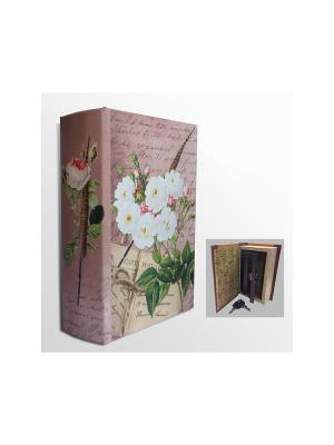 Шкатулка-сейф Белые розы арт.39511 (17*11*5см,из МДФ  с дверцей из черного металла) Magic Home. Цвет: фиолетовый