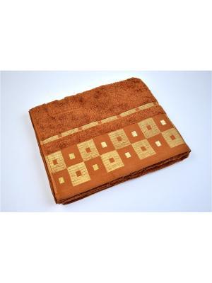 Махровое полотенце шахмат. коричневый 70*140-100% хлопок, в коробке УзТ-ПМ-114-09-20к Aisha. Цвет: коричневый