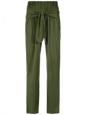 Front tie straight trousers Olympiah. Цвет: зелёный