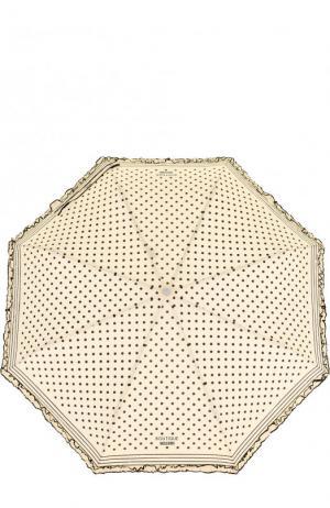 Складной зонт в горох с декоративной оборкой Moschino. Цвет: кремовый