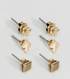 Icon Brand 3 пары сережек-гвоздиков - Золотой 6086280