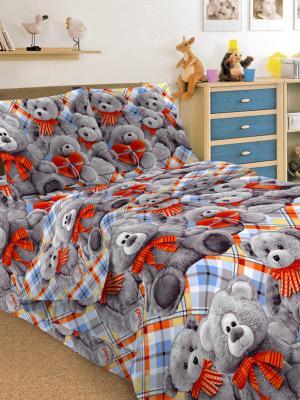 Детский комплект постельного, 1,5-спальный, наволочка 50*70, хлопок, Letto. Цвет: серый, голубой, красный