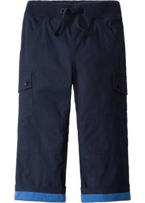 Утепленные брюки с карманами-карго (темно-синий/ледниково-синий) bonprix. Цвет: темно-синий/ледниково-синий