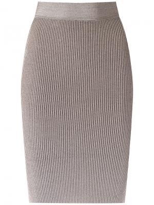 Трикотажная юбка-карандаш Cecilia Prado. Цвет: телесный