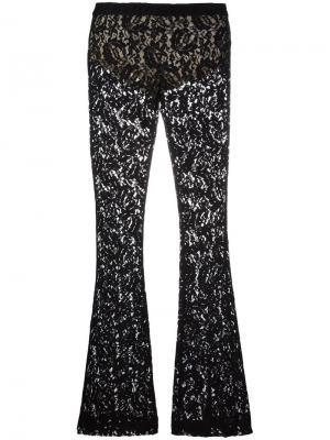 Кружевные расклешенные брюки Moschino. Цвет: чёрный