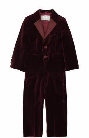 Хлопковый костюм с пиджаком на двух пуговицах Il Gufo. Цвет: бордовый